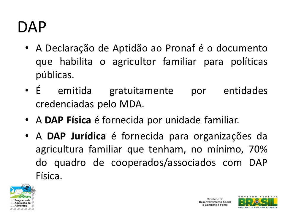 DAP • A Declaração de Aptidão ao Pronaf é o documento que habilita o agricultor familiar para políticas públicas. • É emitida gratuitamente por entida