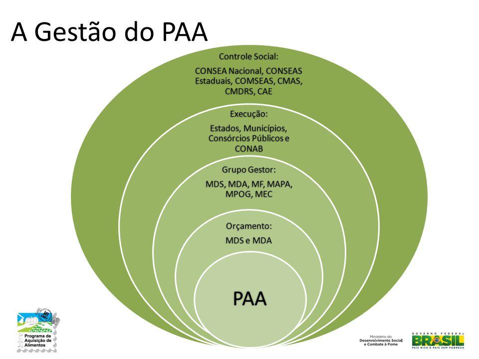 A Gestão do PAA Controle Social: CONSEA Nacional, CONSEAS Estaduais, COMSEAS, CMAS, CMDRS, CAE Execução: Estados, Municípios, Consórcios Públicos e CO