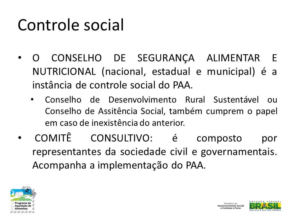 Controle social • O CONSELHO DE SEGURANÇA ALIMENTAR E NUTRICIONAL (nacional, estadual e municipal) é a instância de controle social do PAA. • Conselho