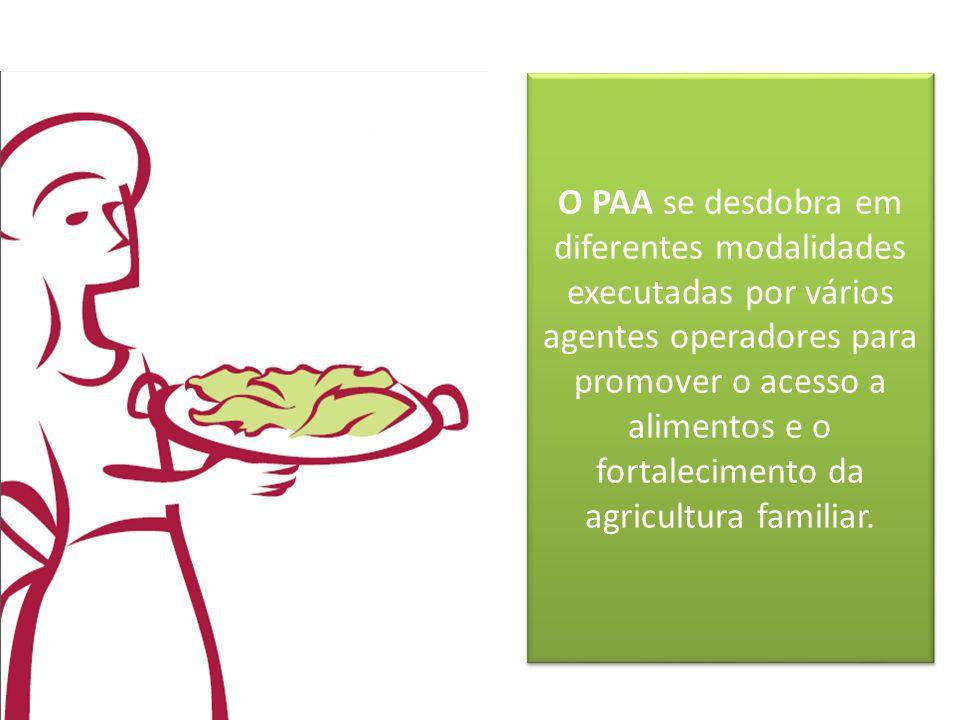 O PAA se desdobra em diferentes modalidades executadas por vários agentes operadores para promover o acesso a alimentos e o fortalecimento da agricult