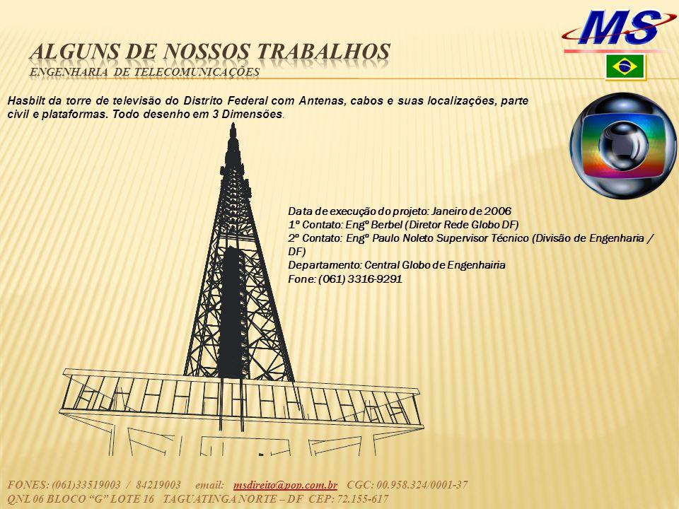 Hasbilt da torre de televisão do Distrito Federal com Antenas, cabos e suas localizações, parte civil e plataformas.