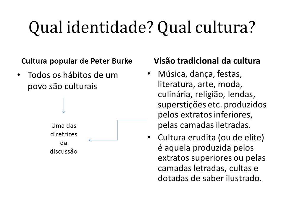 Qual identidade? Qual cultura? Cultura popular de Peter Burke • Todos os hábitos de um povo são culturais Visão tradicional da cultura • Música, dança