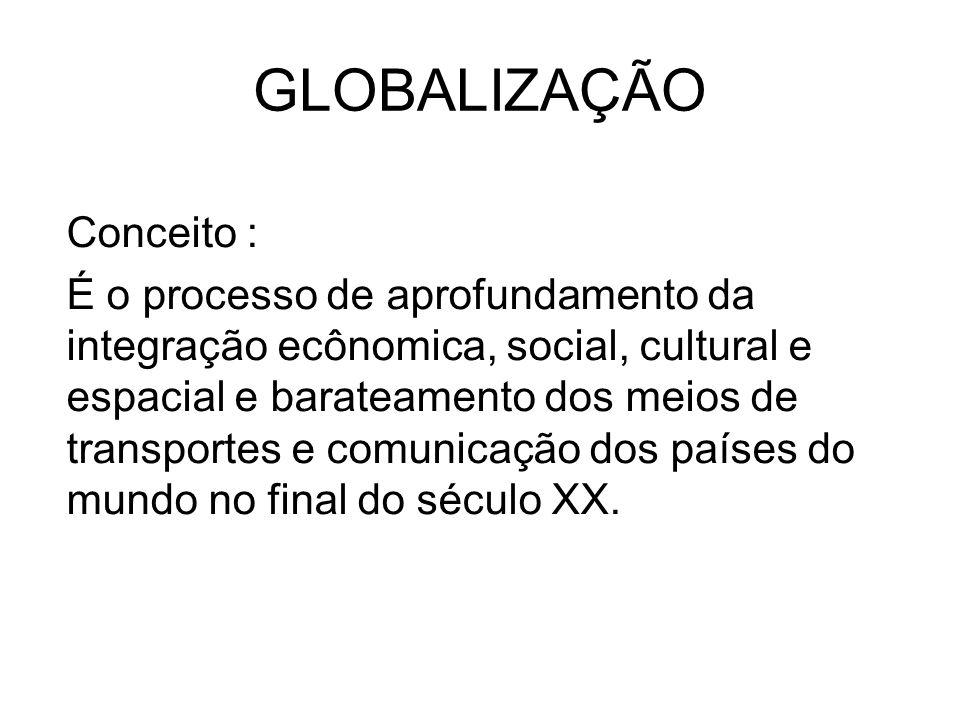 GLOBALIZAÇÃO Conceito : É o processo de aprofundamento da integração ecônomica, social, cultural e espacial e barateamento dos meios de transportes e comunicação dos países do mundo no final do século XX.