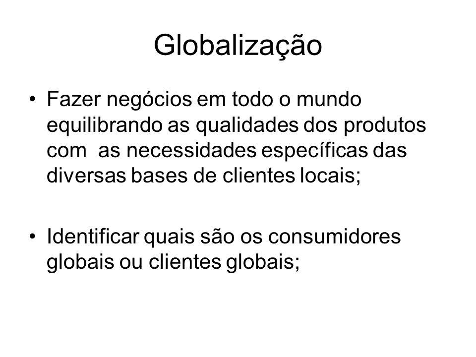 Globalização •Fazer negócios em todo o mundo equilibrando as qualidades dos produtos com as necessidades específicas das diversas bases de clientes locais; •Identificar quais são os consumidores globais ou clientes globais;