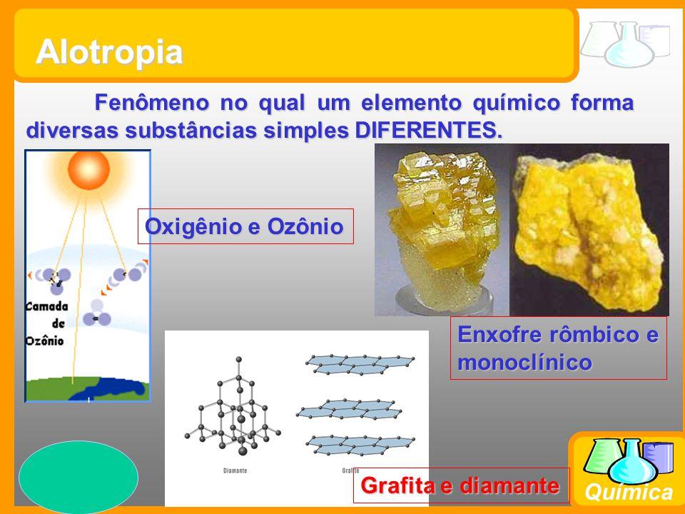 Prof. Busato Química Fenômeno no qual um elemento químico forma diversas substâncias simples DIFERENTES. Alotropia Oxigênio e Ozônio Enxofre rômbico e