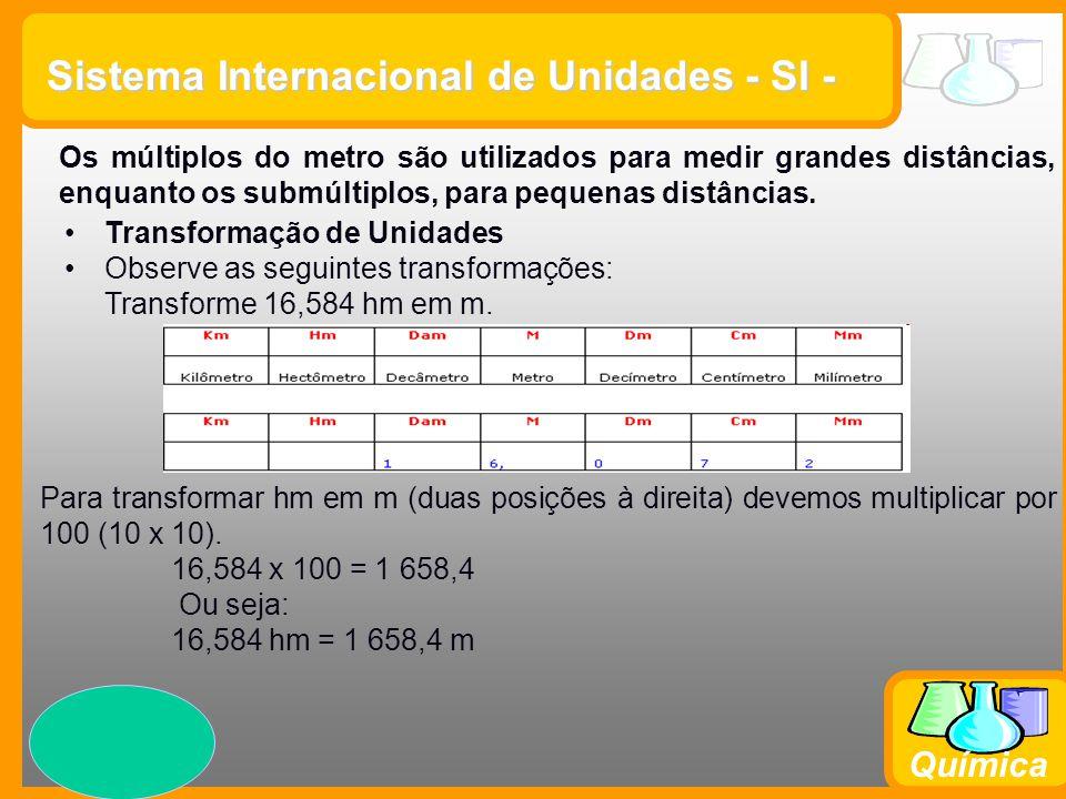 Prof. Busato Química Sistema Internacional de Unidades - SI - Os múltiplos do metro são utilizados para medir grandes distâncias, enquanto os submúlti