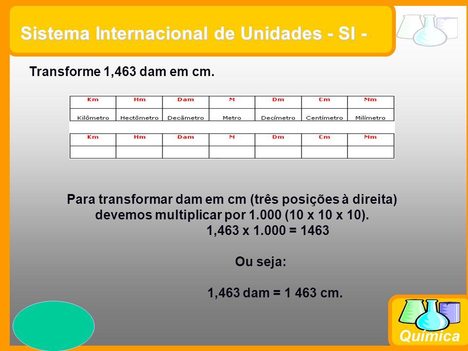 Prof. Busato Química Sistema Internacional de Unidades - SI - Transforme 1,463 dam em cm. Para transformar dam em cm (três posições à direita) devemos