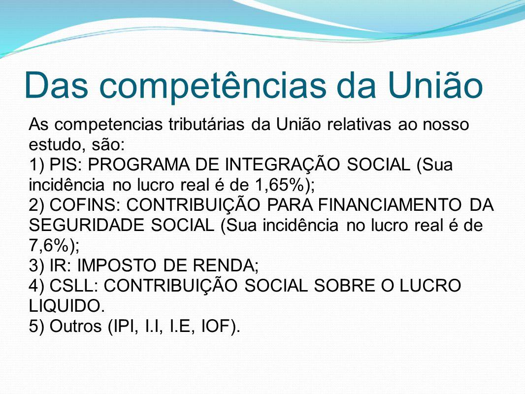 Das competências da União As competencias tributárias da União relativas ao nosso estudo, são: 1) PIS: PROGRAMA DE INTEGRAÇÃO SOCIAL (Sua incidência n