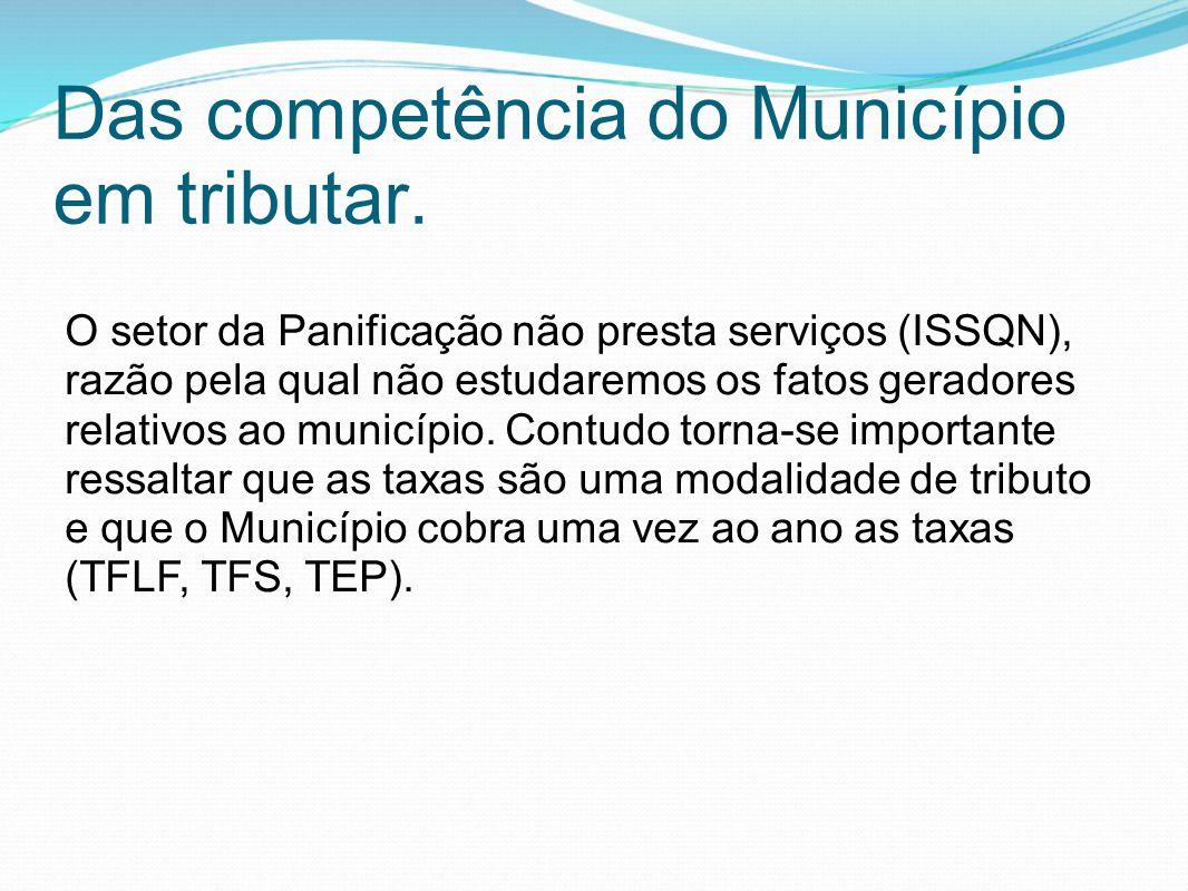 Das competência do Município em tributar. O setor da Panificação não presta serviços (ISSQN), razão pela qual não estudaremos os fatos geradores relat