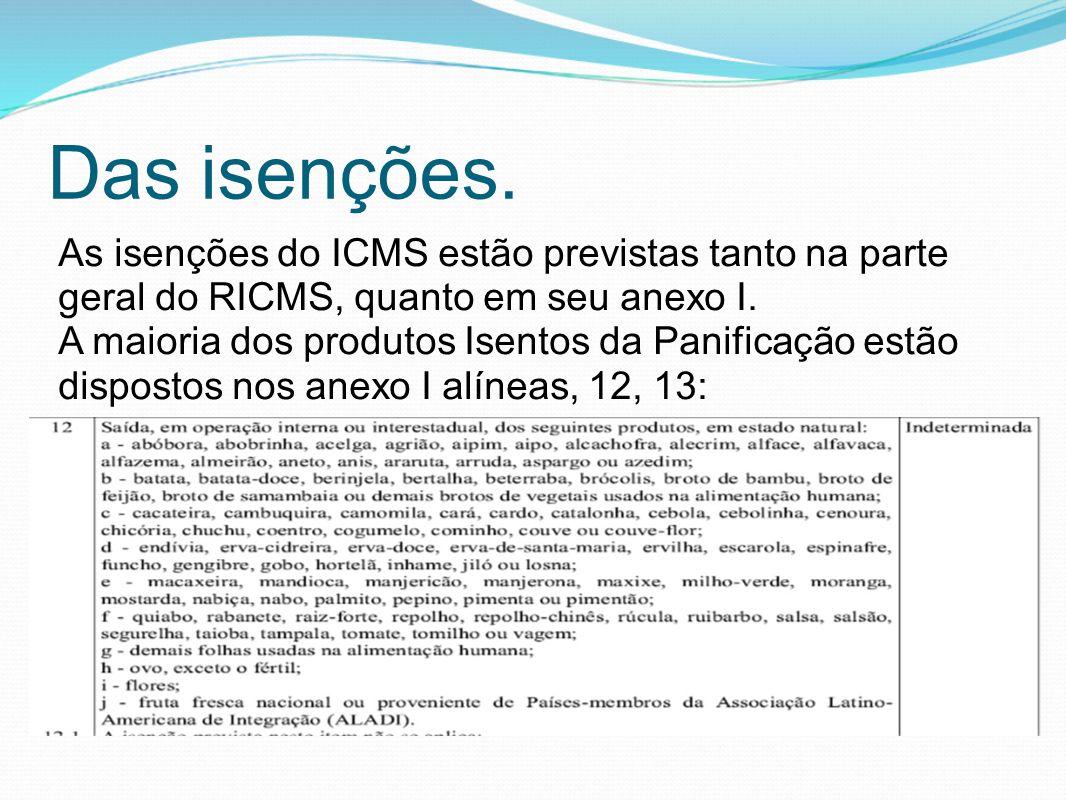 Das isenções. As isenções do ICMS estão previstas tanto na parte geral do RICMS, quanto em seu anexo I. A maioria dos produtos Isentos da Panificação