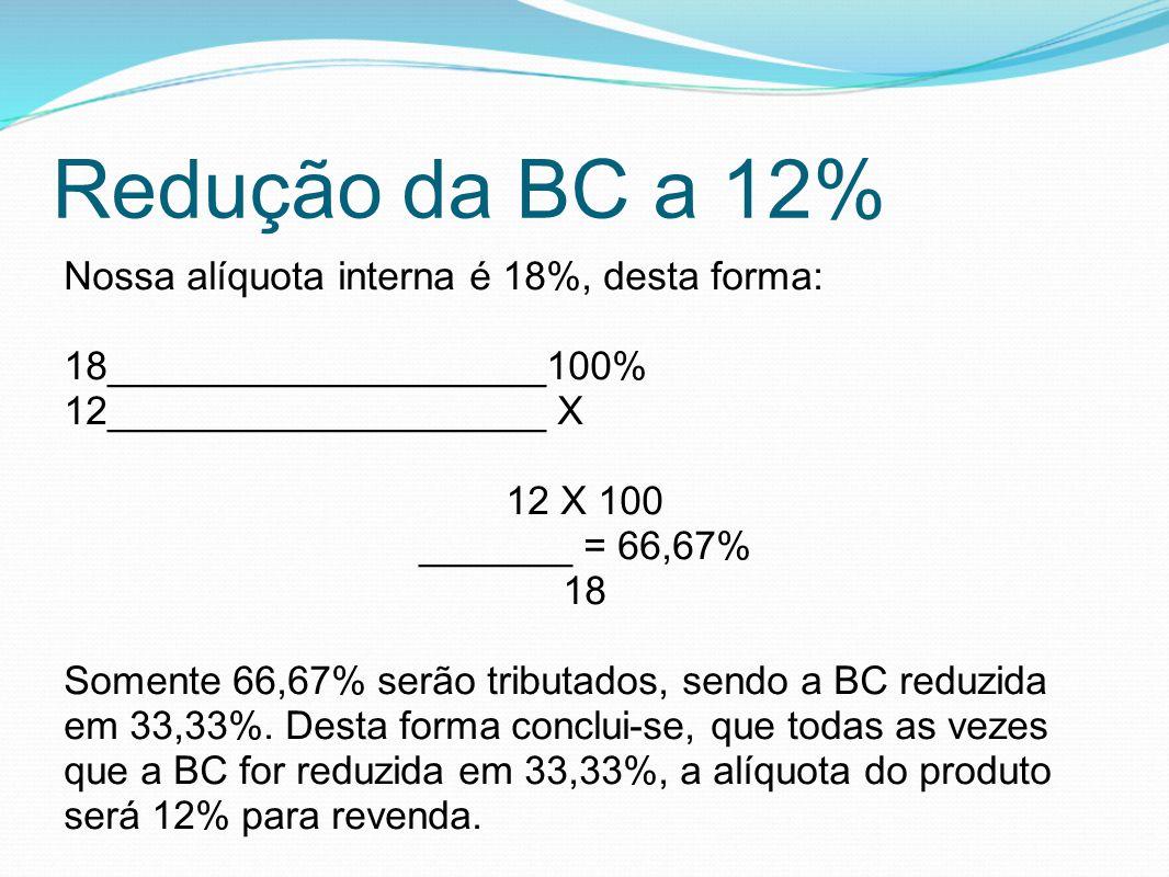 Redução da BC a 12% Nossa alíquota interna é 18%, desta forma: 18____________________100% 12____________________ X 12 X 100 _______ = 66,67% 18 Soment