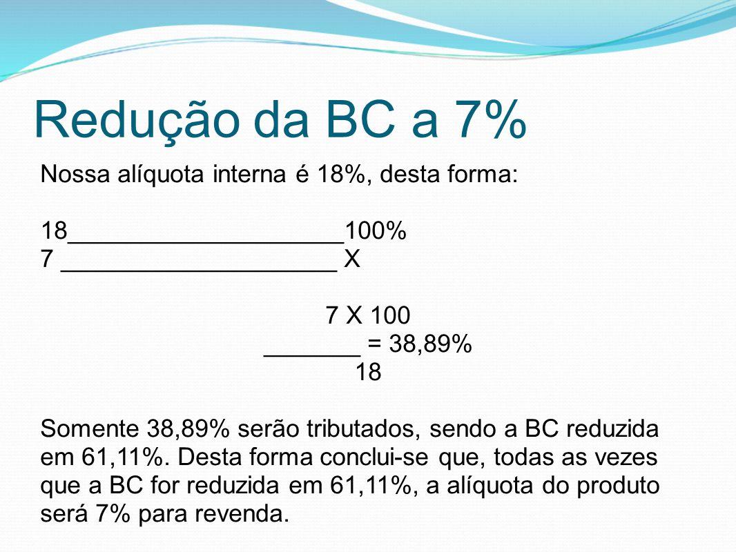 Redução da BC a 7% Nossa alíquota interna é 18%, desta forma: 18____________________100% 7 ____________________ X 7 X 100 _______ = 38,89% 18 Somente