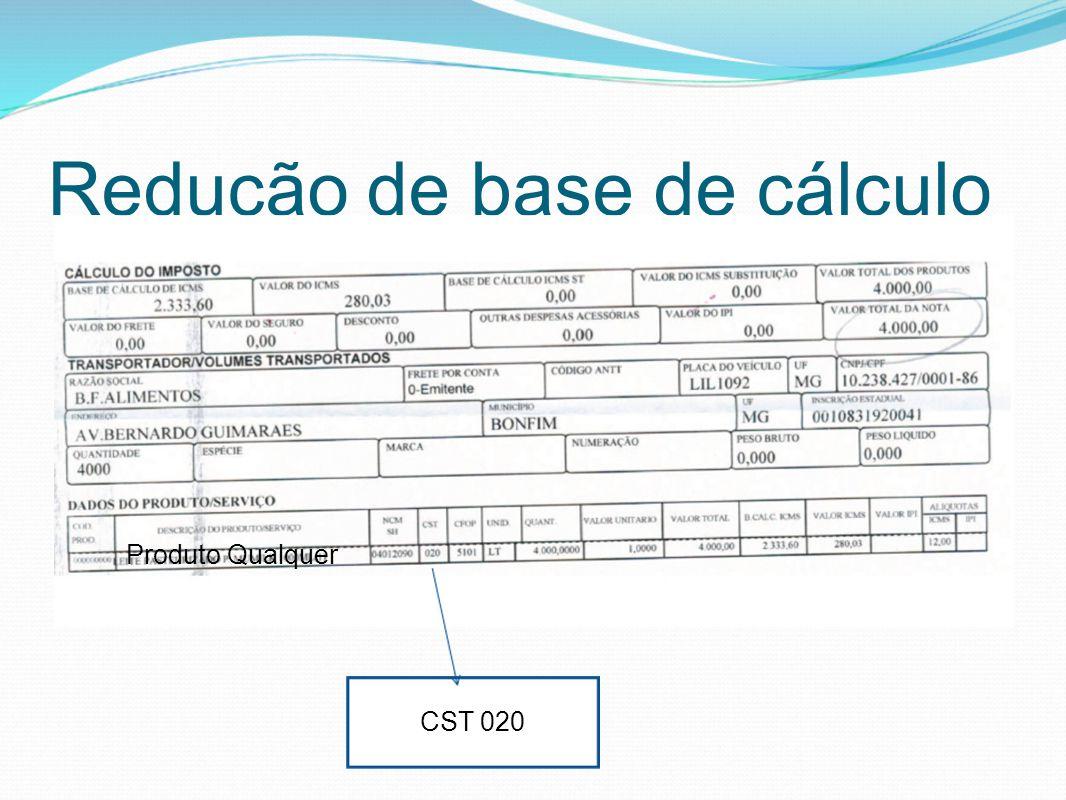 Redução de base de cálculo CST 020 Produto Qualquer