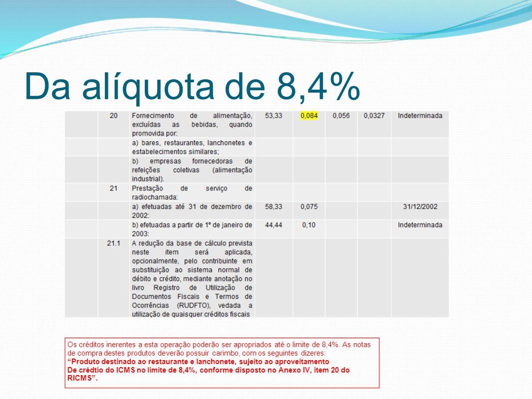 Da alíquota de 8,4% Os créditos inerentes a esta operação poderão ser apropriados até o limite de 8,4%. As notas de compra destes produtos deverão pos