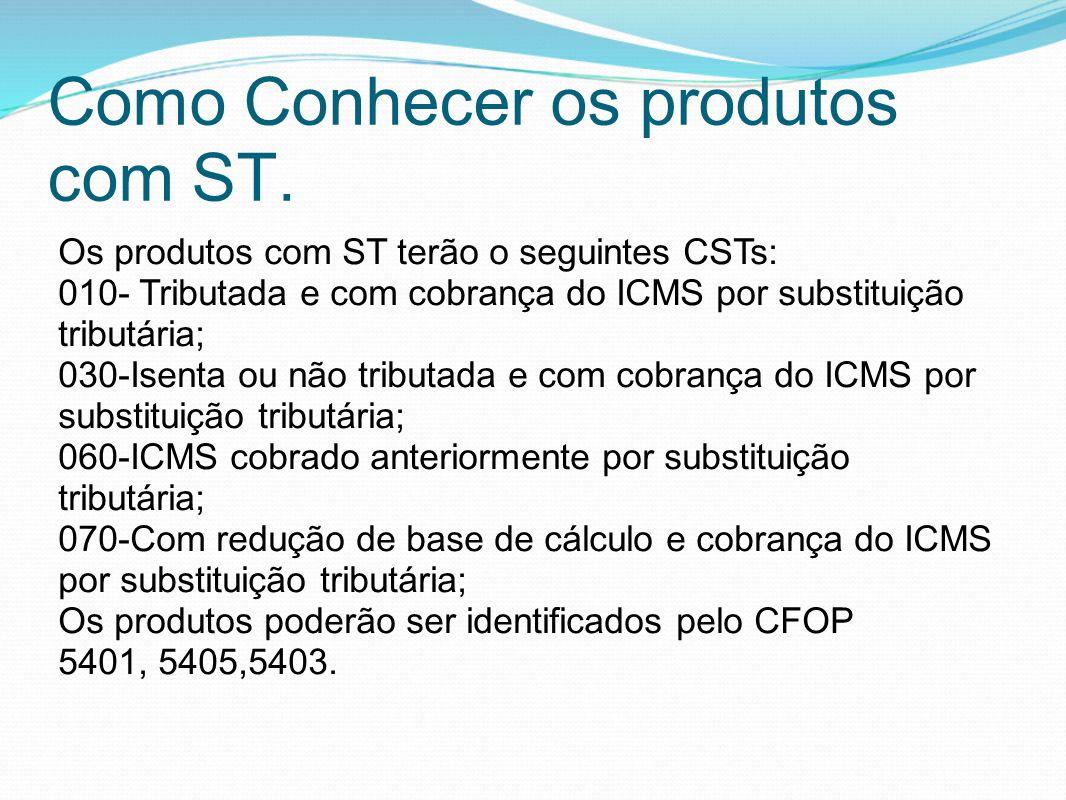 Como Conhecer os produtos com ST. Os produtos com ST terão o seguintes CSTs: 010- Tributada e com cobrança do ICMS por substituição tributária; 030-Is