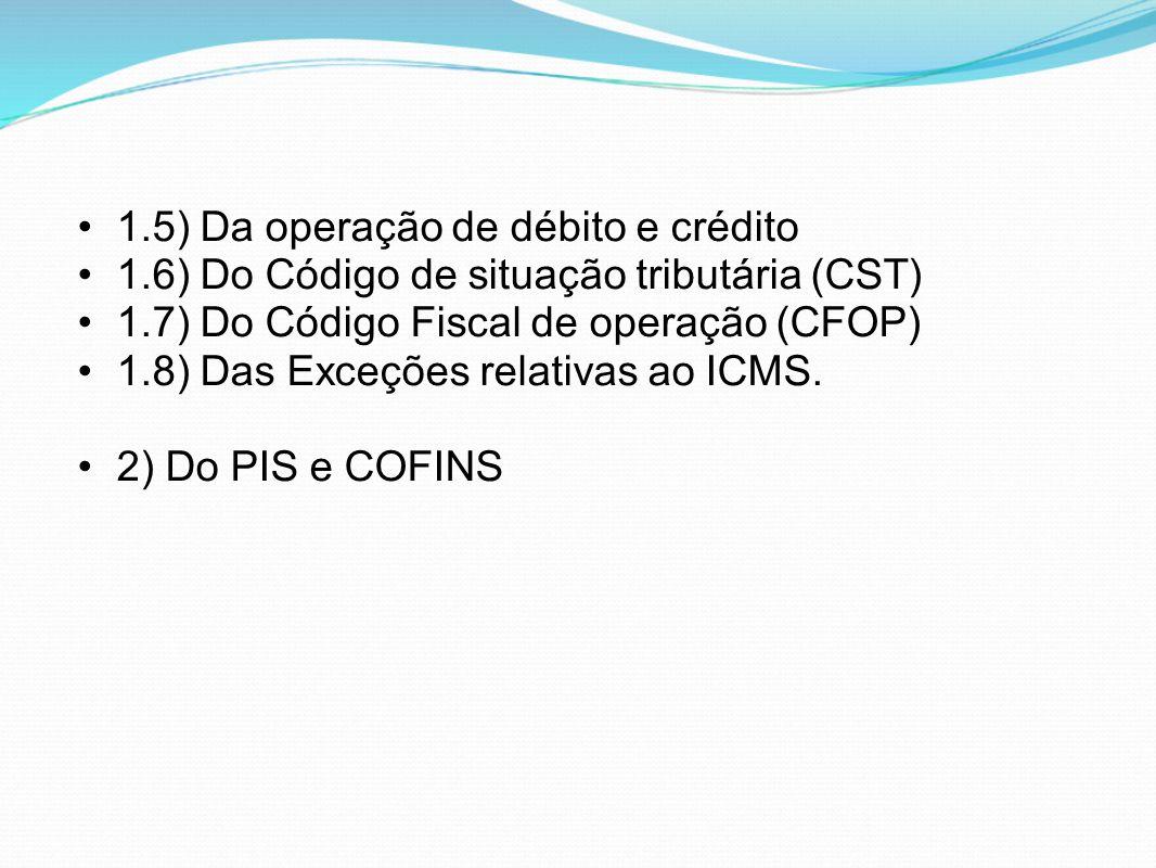 •1.5) Da operação de débito e crédito •1.6) Do Código de situação tributária (CST) •1.7) Do Código Fiscal de operação (CFOP) •1.8) Das Exceções relati