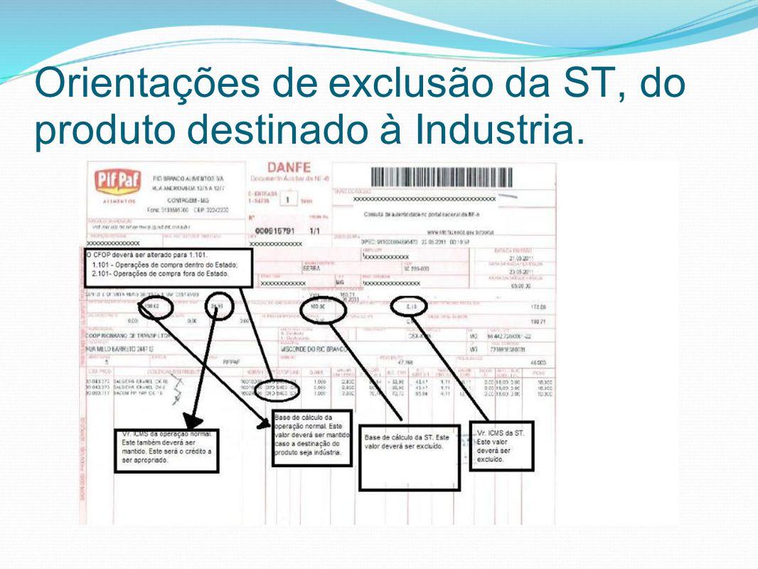 Orientações de exclusão da ST, do produto destinado à Industria.