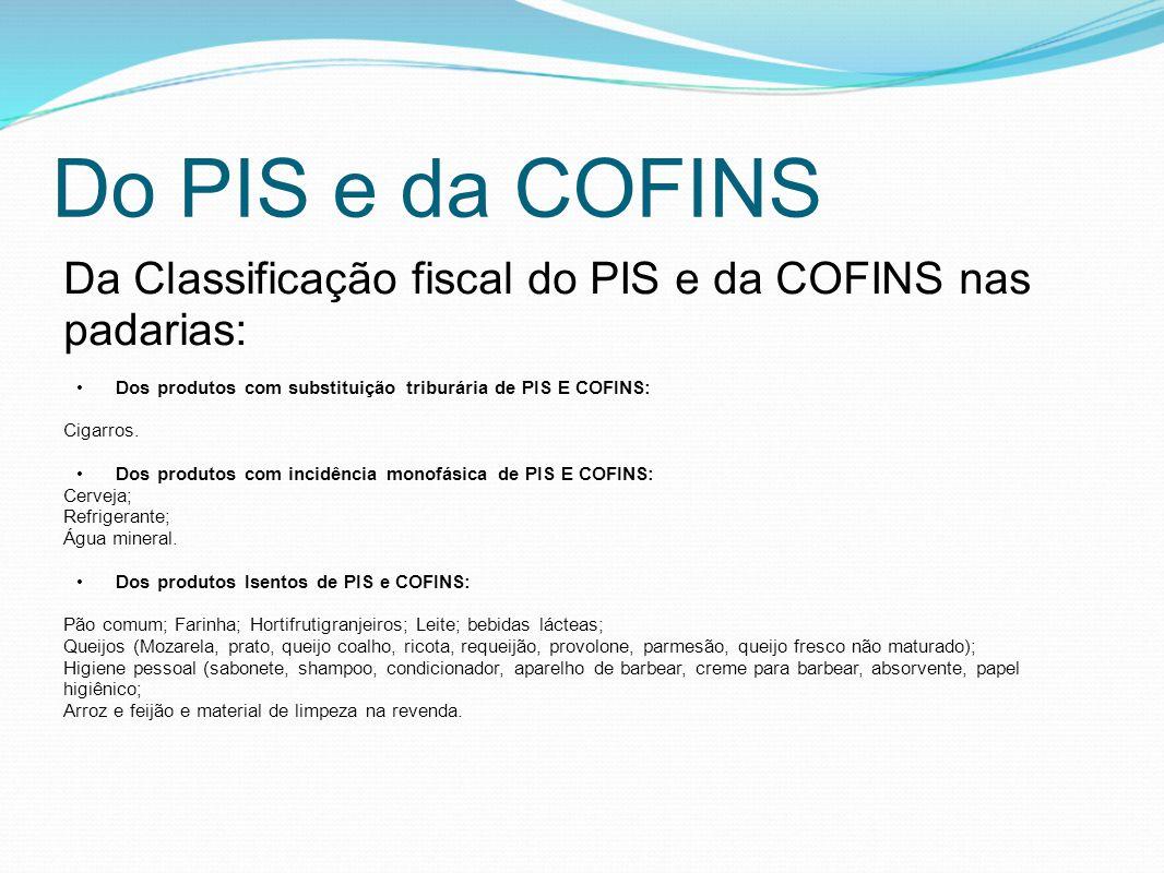 Do PIS e da COFINS Da Classificação fiscal do PIS e da COFINS nas padarias: •Dos produtos com substituição triburária de PIS E COFINS: Cigarros. •Dos