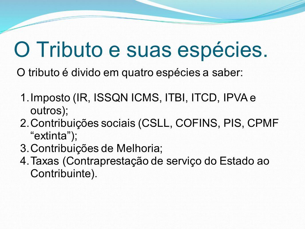 O Tributo e suas espécies. O tributo é divido em quatro espécies a saber: 1.Imposto (IR, ISSQN ICMS, ITBI, ITCD, IPVA e outros); 2.Contribuições socia
