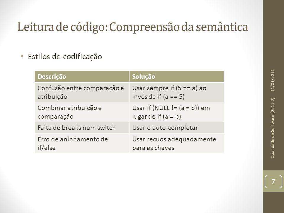 Leitura de código: Compreensão da semântica • Estilos de codificação 11/01/2011 Qualidade de Software (2011.0) 7 DescriçãoSolução Confusão entre compa