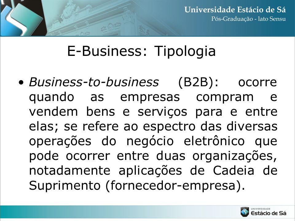 •Business-to-business (B2B): ocorre quando as empresas compram e vendem bens e serviços para e entre elas; se refere ao espectro das diversas operaçõe