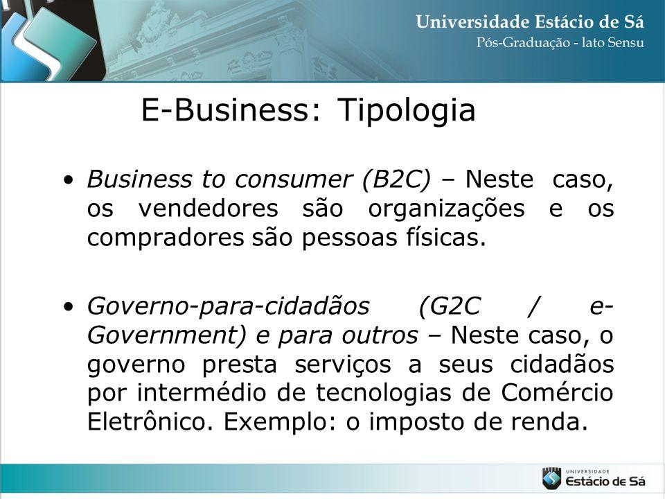 •Business to consumer (B2C) – Neste caso, os vendedores são organizações e os compradores são pessoas físicas. •Governo-para-cidadãos (G2C / e- Govern