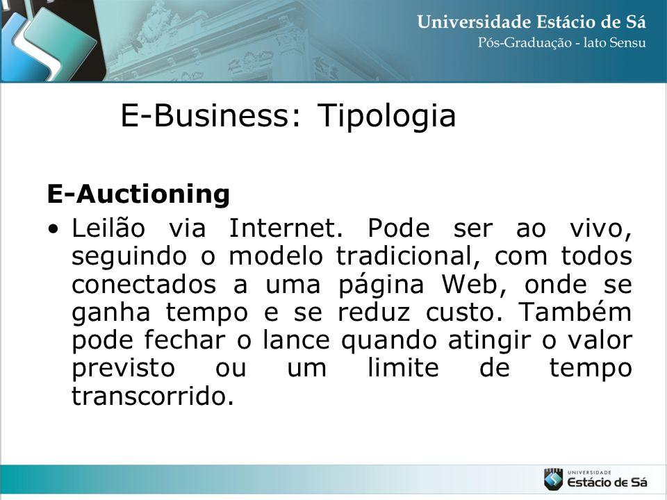 E-Auctioning •Leilão via Internet. Pode ser ao vivo, seguindo o modelo tradicional, com todos conectados a uma página Web, onde se ganha tempo e se re