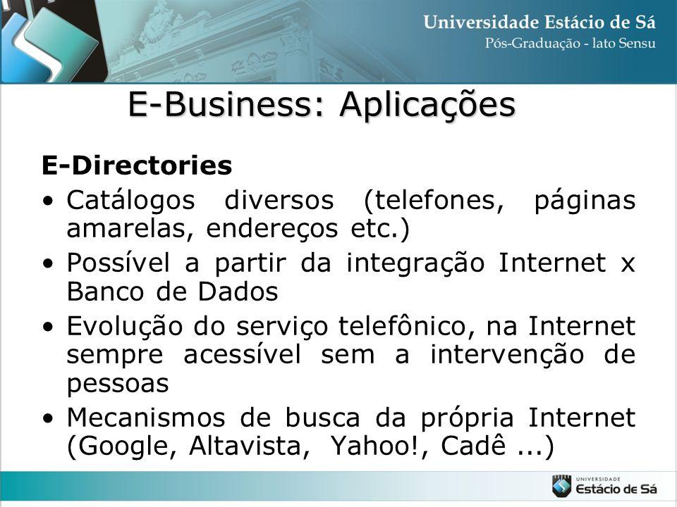 E-Directories •Catálogos diversos (telefones, páginas amarelas, endereços etc.) •Possível a partir da integração Internet x Banco de Dados •Evolução d
