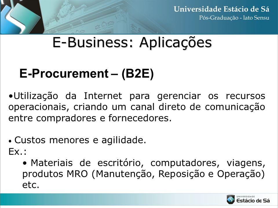 E-Procurement – (B2E) •Utilização da Internet para gerenciar os recursos operacionais, criando um canal direto de comunicação entre compradores e forn