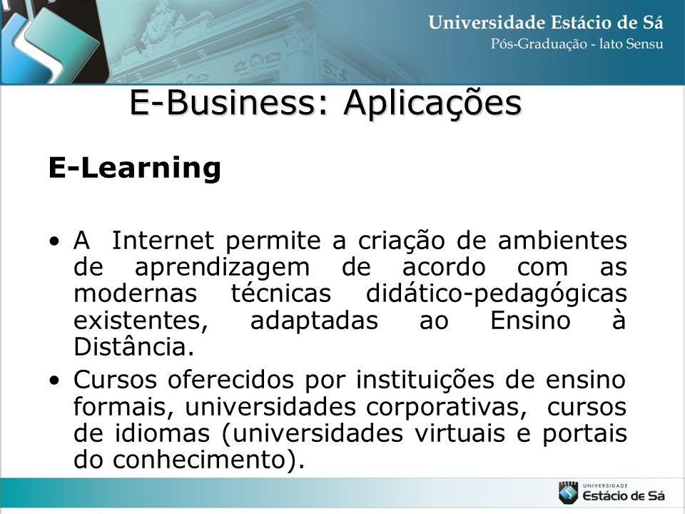 E-Learning •A Internet permite a criação de ambientes de aprendizagem de acordo com as modernas técnicas didático-pedagógicas existentes, adaptadas ao