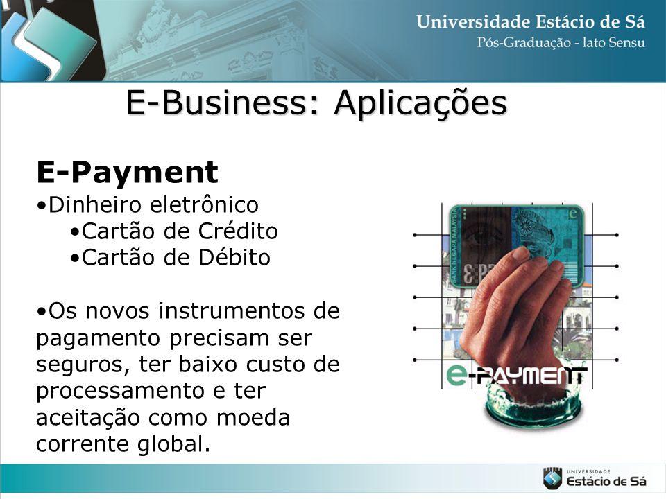 E-Payment •Dinheiro eletrônico •Cartão de Crédito •Cartão de Débito •Os novos instrumentos de pagamento precisam ser seguros, ter baixo custo de proce