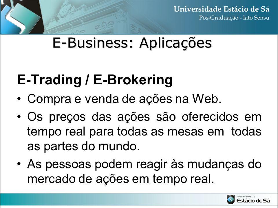 E-Trading / E-Brokering •Compra e venda de ações na Web. •Os preços das ações são oferecidos em tempo real para todas as mesas em todas as partes do m