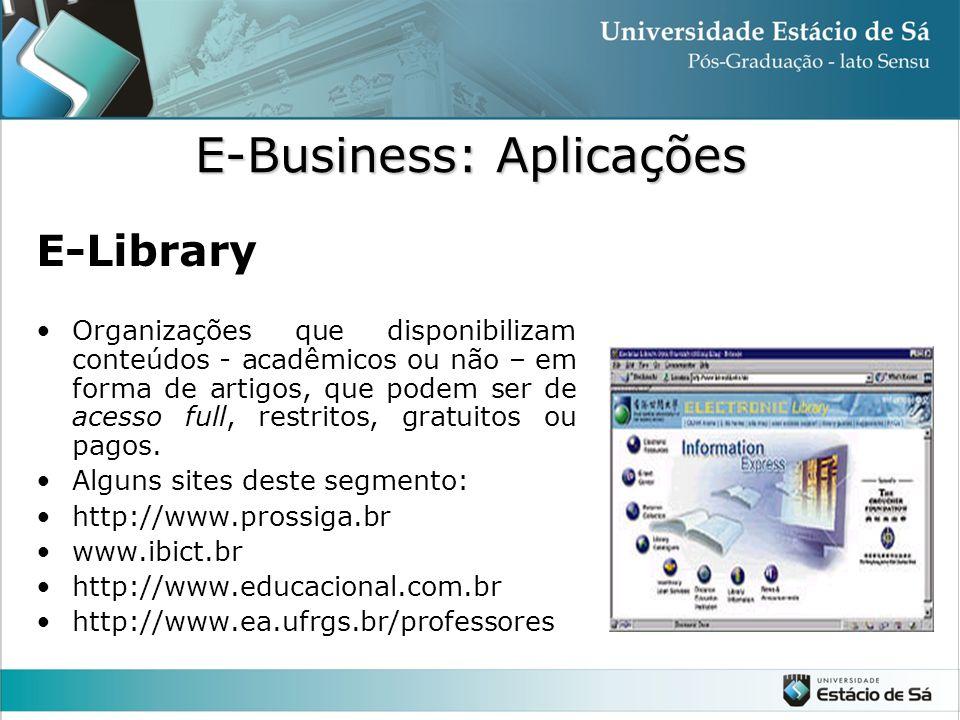 E-Library •Organizações que disponibilizam conteúdos - acadêmicos ou não – em forma de artigos, que podem ser de acesso full, restritos, gratuitos ou