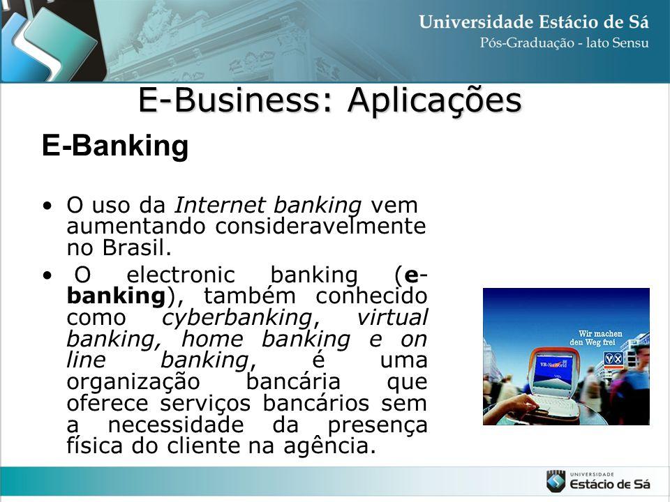 E-Banking •O uso da Internet banking vem aumentando consideravelmente no Brasil. • O electronic banking (e- banking), também conhecido como cyberbanki