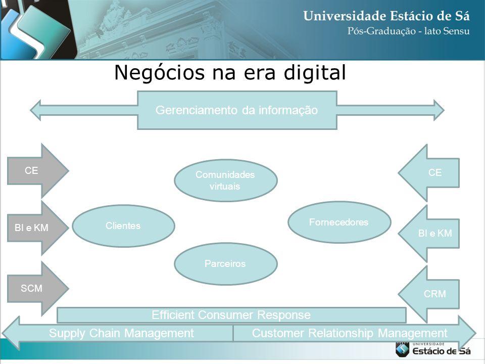 Negócios na era digital Gerenciamento da informação Comunidades virtuais Clientes Fornecedores Parceiros BI e KM SCM CE BI e KM CRM Efficient Consumer