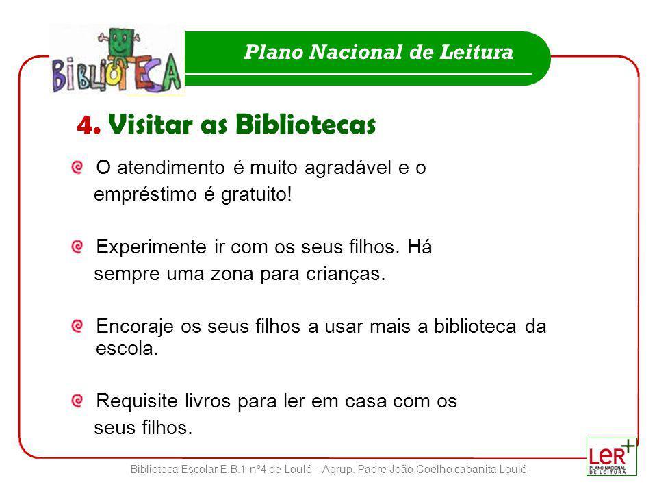 Biblioteca Escolar E.B.1 nº4 de Loulé – Agrup. Padre João Coelho cabanita Loulé Plano Nacional de Leitura 4. Visitar as Bibliotecas O atendimento é mu