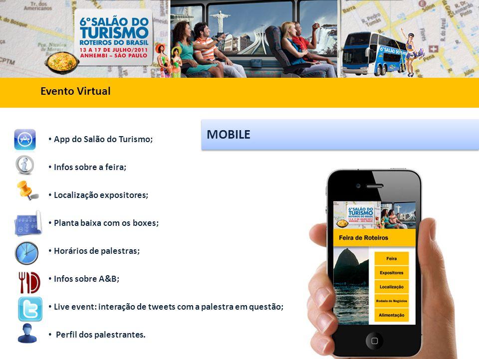 Evento Virtual MOBILE • App do Salão do Turismo; • Infos sobre a feira; • Localização expositores; • Planta baixa com os boxes; • Horários de palestras; • Infos sobre A&B; • Live event: interação de tweets com a palestra em questão; • Perfil dos palestrantes.