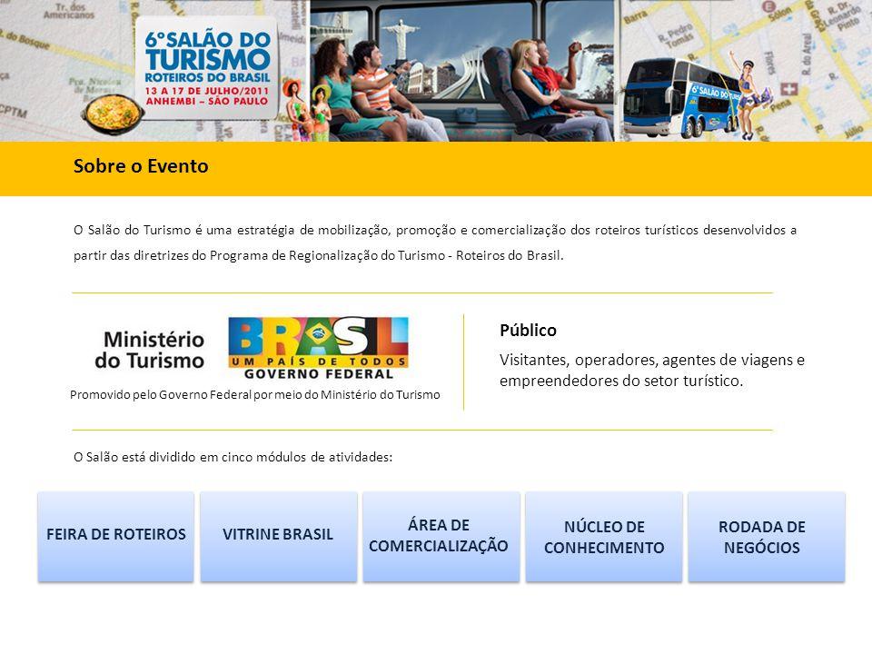 O Salão do Turismo é uma estratégia de mobilização, promoção e comercialização dos roteiros turísticos desenvolvidos a partir das diretrizes do Programa de Regionalização do Turismo - Roteiros do Brasil.