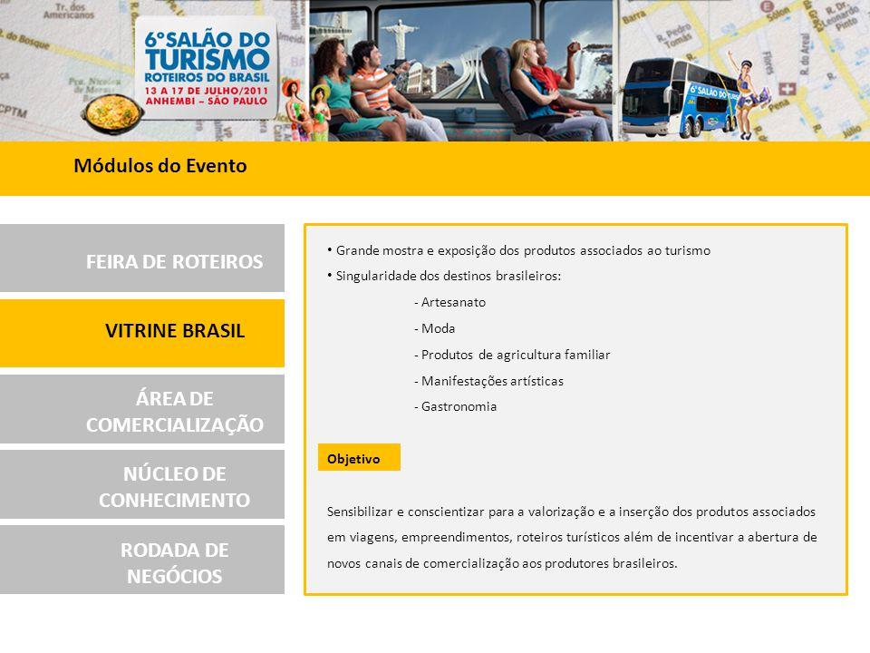 FEIRA DE ROTEIROS VITRINE BRASIL ÁREA DE COMERCIALIZAÇÃO NÚCLEO DE CONHECIMENTO RODADA DE NEGÓCIOS A Área de Comercialização consolidou o Salão do Turismo - Roteiros do Brasil como um centro de venda direta de produtos e serviços turísticos ao visitante.
