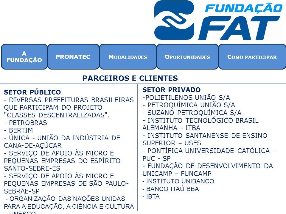 SETOR PÚBLICO - DIVERSAS PREFEITURAS BRASILEIRAS QUE PARTICIPAM DO PROJETO CLASSES DESCENTRALIZADAS .