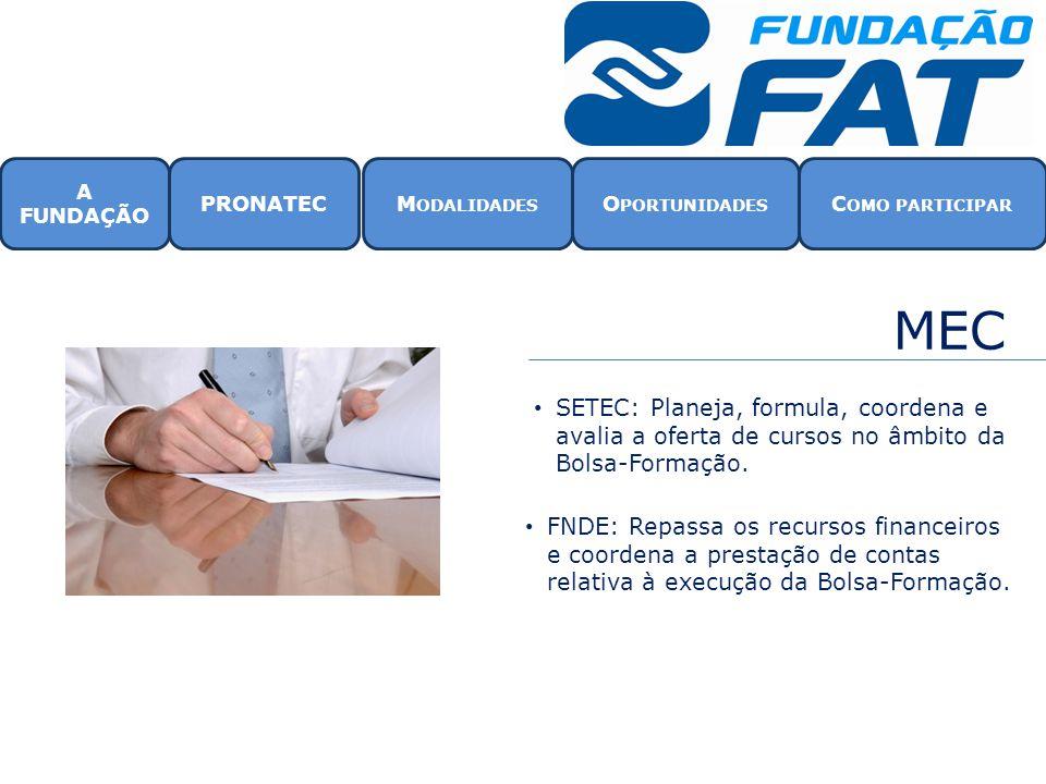 MEC • SETEC: Planeja, formula, coordena e avalia a oferta de cursos no âmbito da Bolsa-Formação. • FNDE: Repassa os recursos financeiros e coordena a