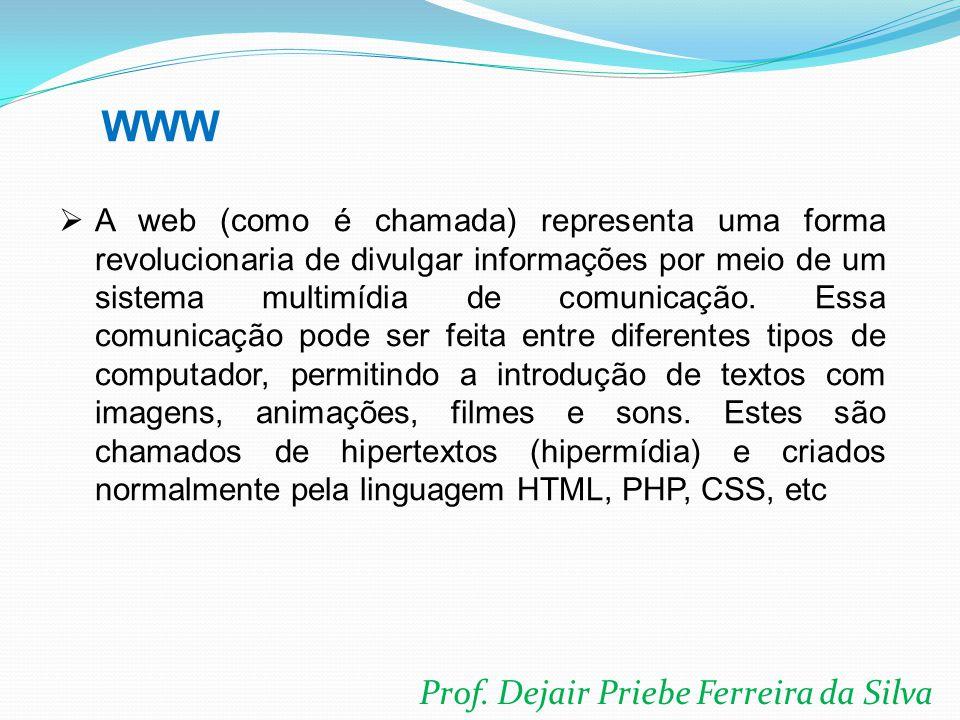 Prof. Dejair Priebe Ferreira da Silva  A web (como é chamada) representa uma forma revolucionaria de divulgar informações por meio de um sistema mult