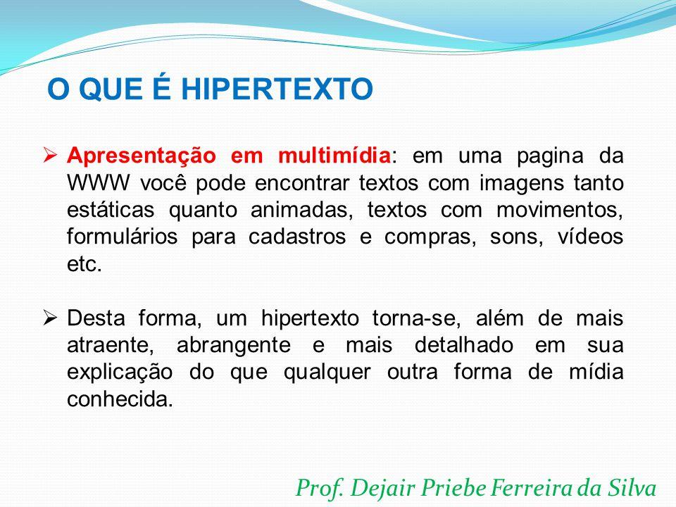 Prof. Dejair Priebe Ferreira da Silva  Apresentação em multimídia: em uma pagina da WWW você pode encontrar textos com imagens tanto estáticas quanto