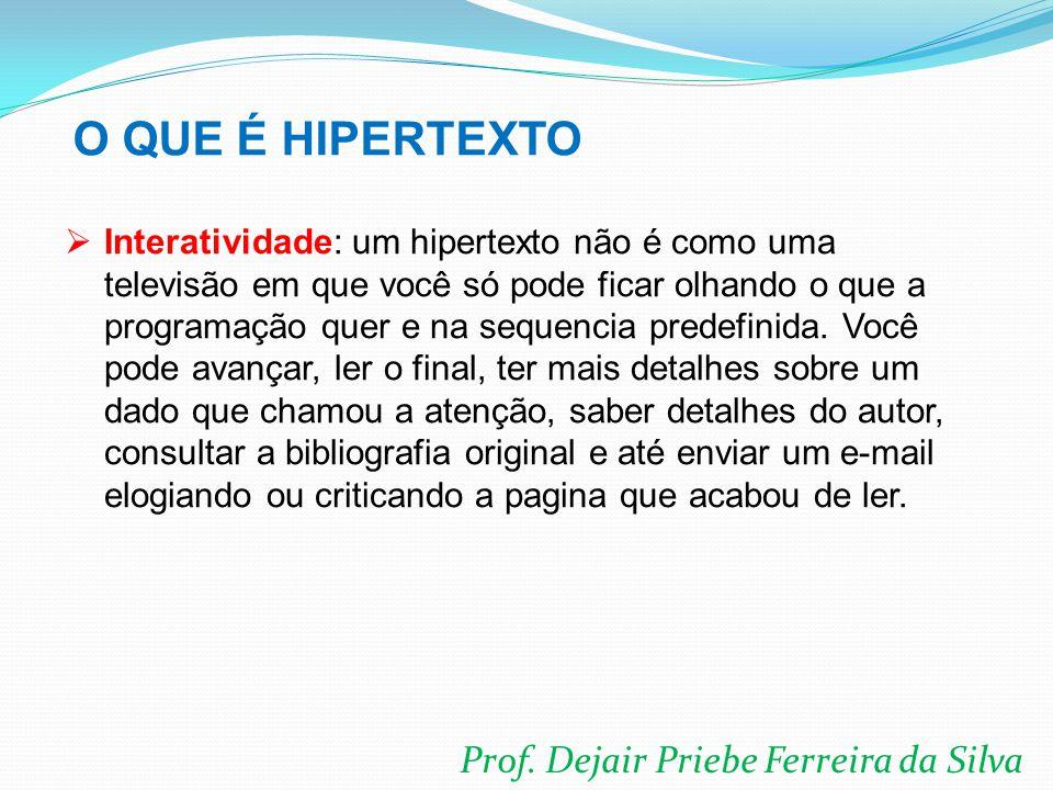 Prof. Dejair Priebe Ferreira da Silva  Interatividade: um hipertexto não é como uma televisão em que você só pode ficar olhando o que a programação q