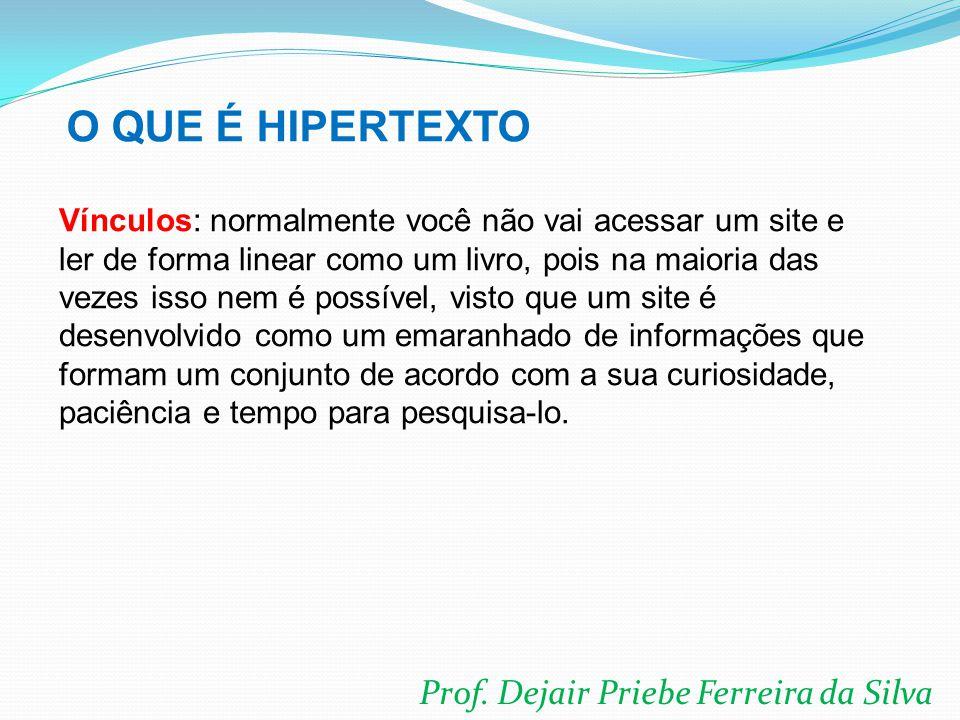 Prof. Dejair Priebe Ferreira da Silva Vínculos: normalmente você não vai acessar um site e ler de forma linear como um livro, pois na maioria das veze