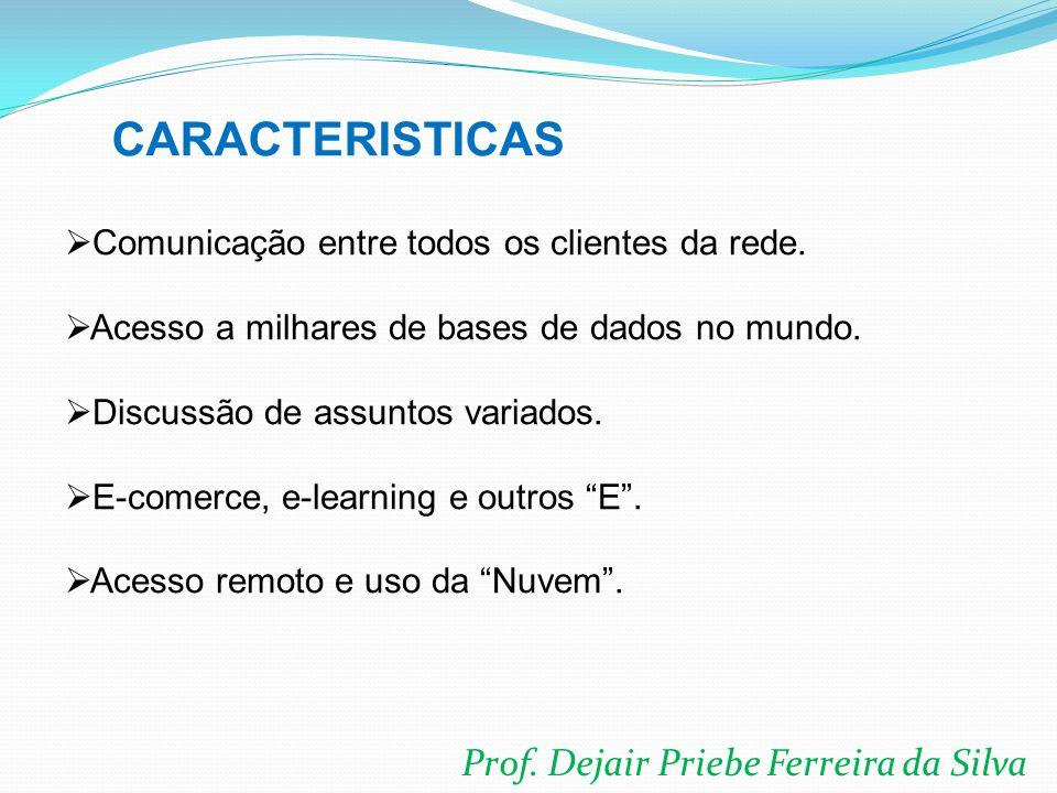 Prof. Dejair Priebe Ferreira da Silva  Comunicação entre todos os clientes da rede.  Acesso a milhares de bases de dados no mundo.  Discussão de as