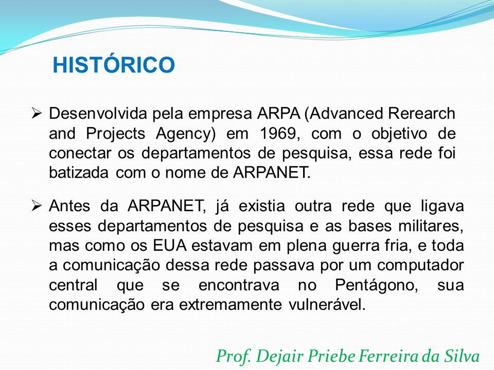 Prof. Dejair Priebe Ferreira da Silva  Desenvolvida pela empresa ARPA (Advanced Rerearch and Projects Agency) em 1969, com o objetivo de conectar os
