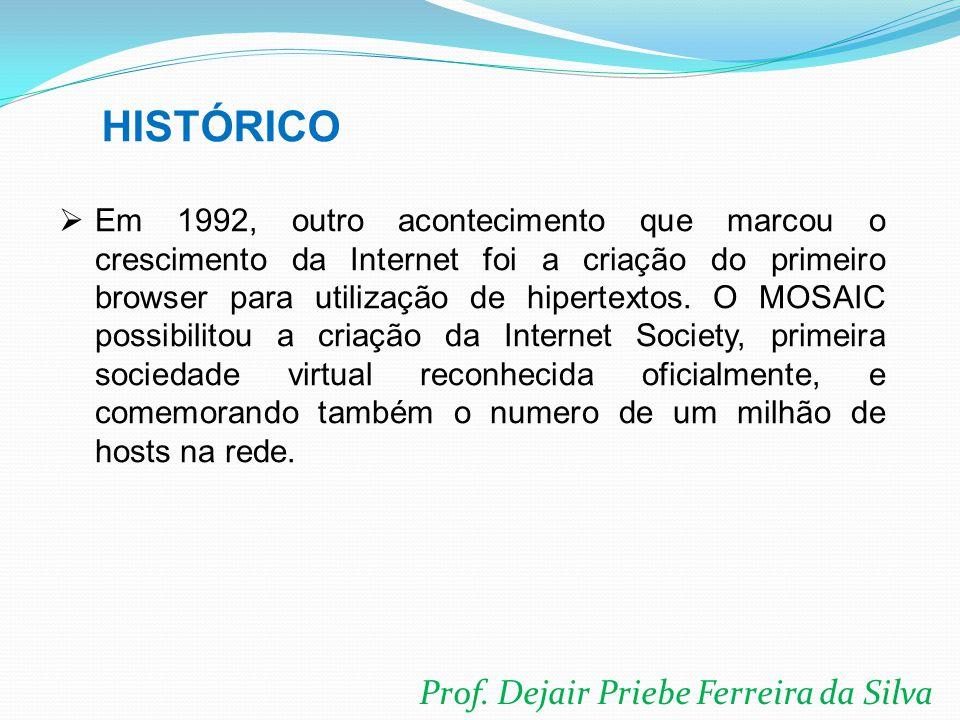 Prof. Dejair Priebe Ferreira da Silva  Em 1992, outro acontecimento que marcou o crescimento da Internet foi a criação do primeiro browser para utili