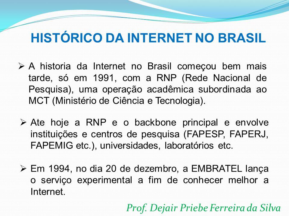 Prof. Dejair Priebe Ferreira da Silva  A historia da Internet no Brasil começou bem mais tarde, só em 1991, com a RNP (Rede Nacional de Pesquisa), um