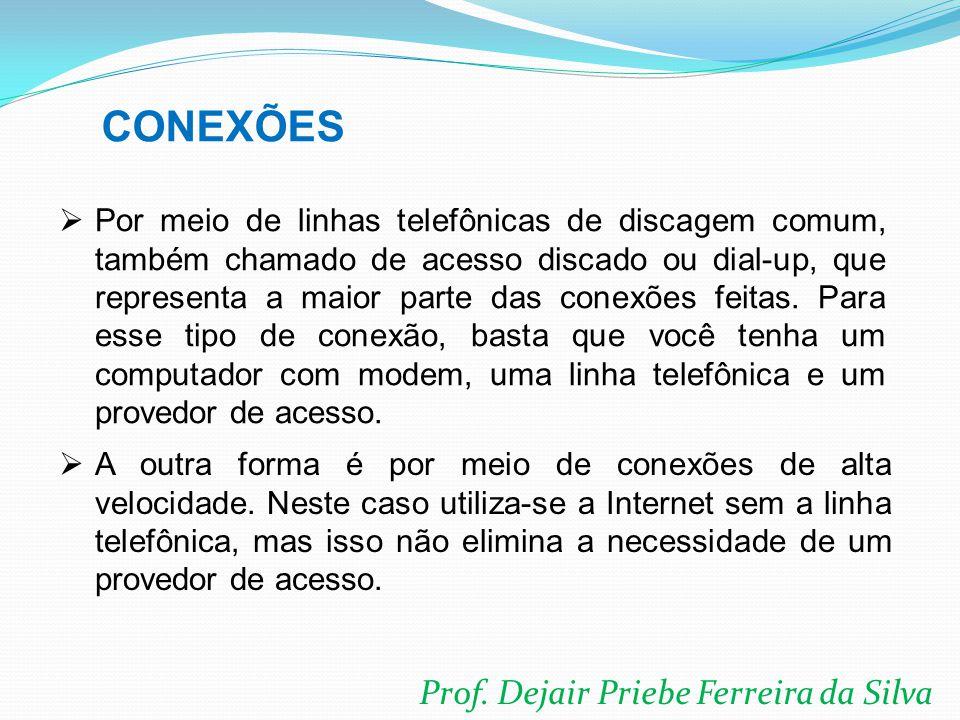 Prof. Dejair Priebe Ferreira da Silva  Por meio de linhas telefônicas de discagem comum, também chamado de acesso discado ou dial-up, que representa